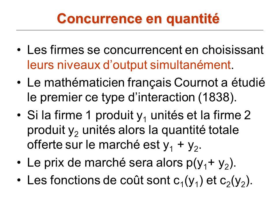 y2y2 y1y1 y1*y1* y2*y2* (y 1 *,y 2 *) est léquilibre de Cournot-Nash.