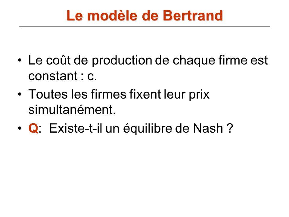 Le coût de production de chaque firme est constant : c. Toutes les firmes fixent leur prix simultanément. Q: Existe-t-il un équilibre de Nash ? Le mod