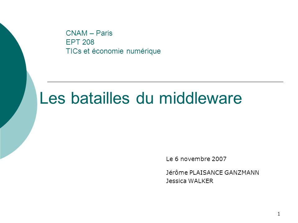 1 CNAM – Paris EPT 208 TICs et économie numérique Le 6 novembre 2007 Jérôme PLAISANCE GANZMANN Jessica WALKER Les batailles du middleware