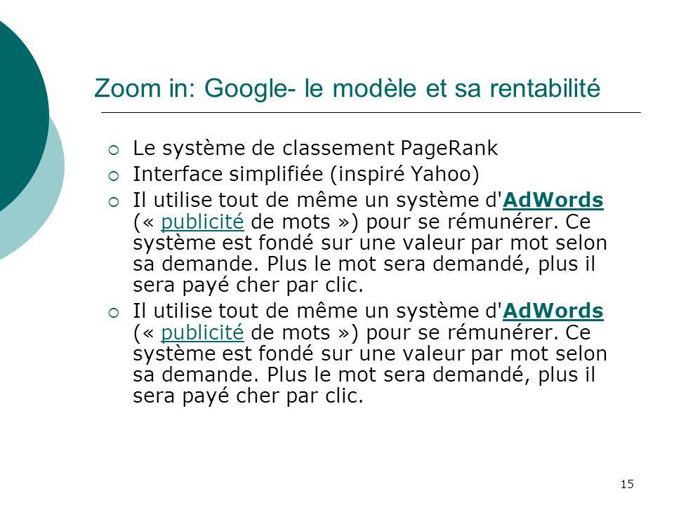 15 Zoom in: Google- le modèle et sa rentabilité Le système de classement PageRank Interface simplifiée (inspiré Yahoo) Il utilise tout de même un syst