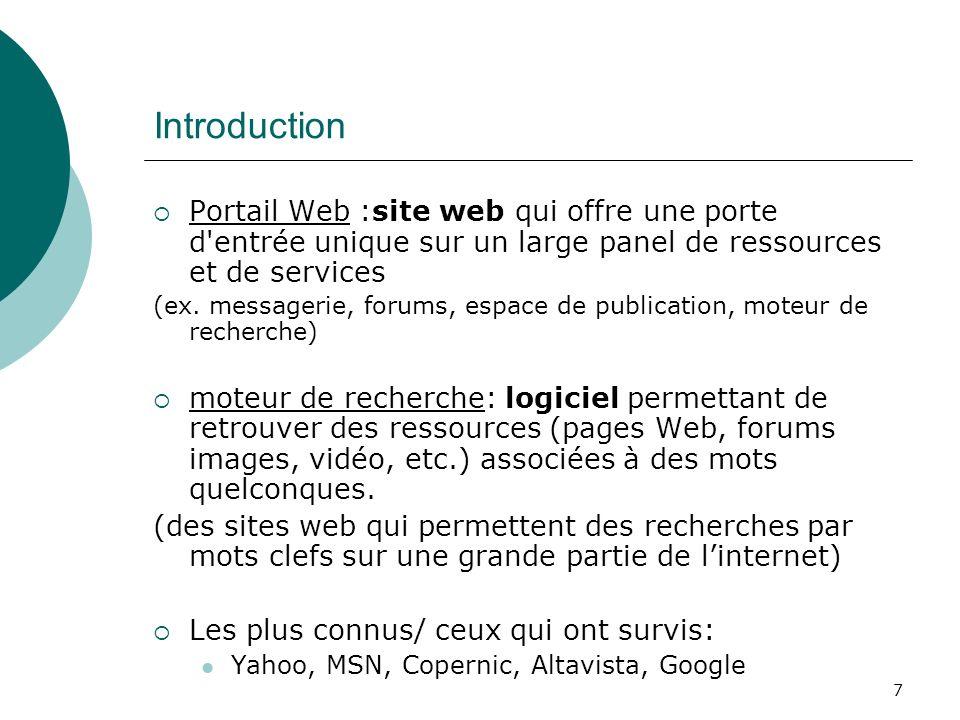 7 Introduction Portail Web :site web qui offre une porte d'entrée unique sur un large panel de ressources et de services (ex. messagerie, forums, espa