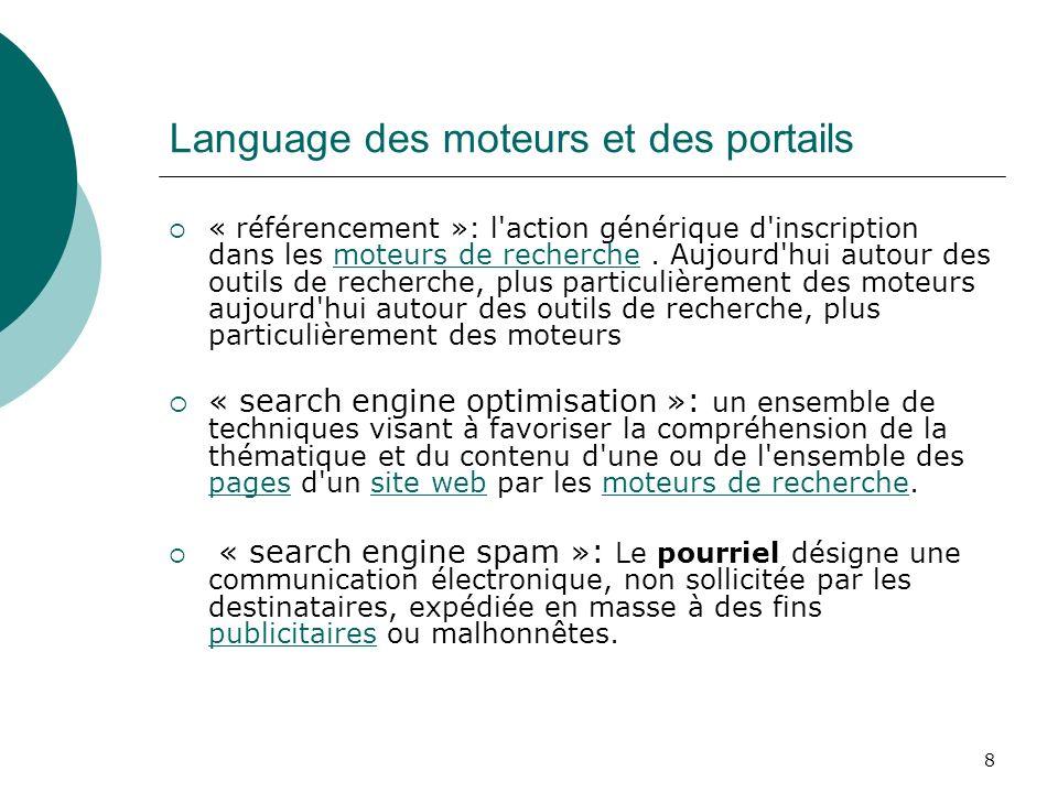 8 Language des moteurs et des portails « référencement »: l'action générique d'inscription dans les moteurs de recherche. Aujourd'hui autour des outil