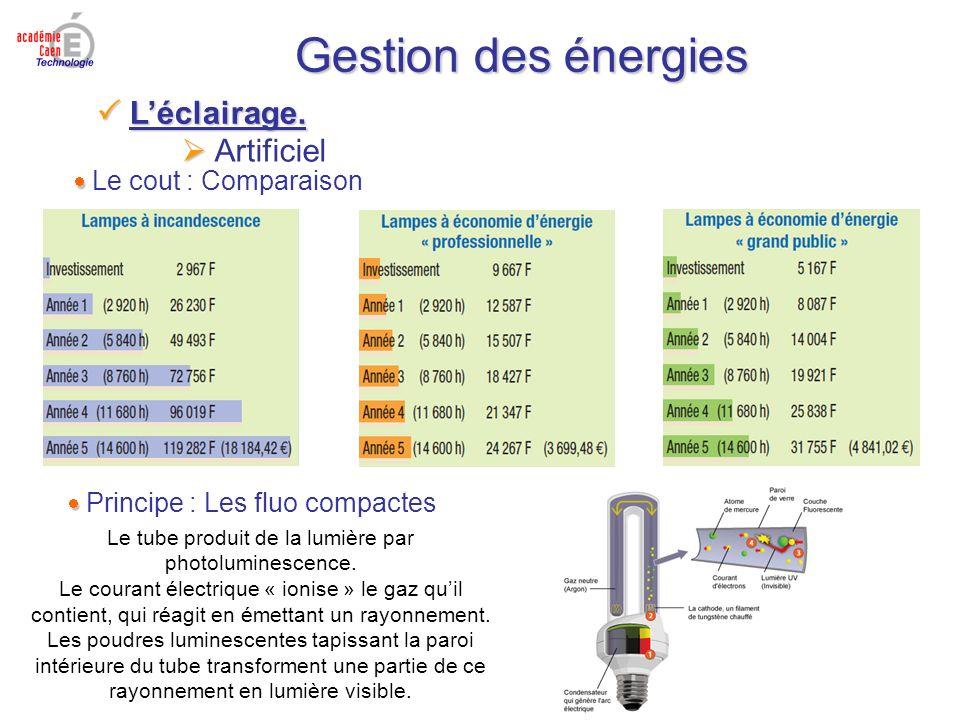 Gestion des énergies Artificiel Le cout : Comparaison Principe : Les fluo compactes Le tube produit de la lumière par photoluminescence. Le courant él