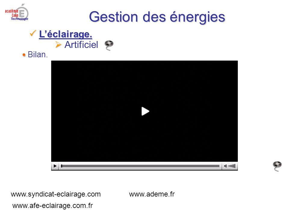 Gestion des énergies Bilan. www.syndicat-eclairage.com www.ademe.fr www.afe-eclairage.com.fr Artificiel Léclairage. Léclairage.