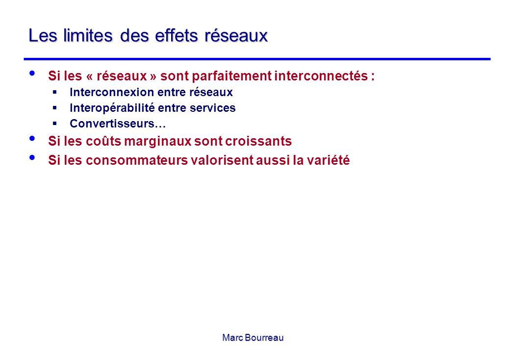 Marc Bourreau Les limites des effets réseaux Si les « réseaux » sont parfaitement interconnectés : Interconnexion entre réseaux Interopérabilité entre