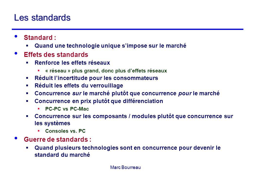 Marc Bourreau Les standards Standard : Quand une technologie unique simpose sur le marché Effets des standards Renforce les effets réseaux « réseau »
