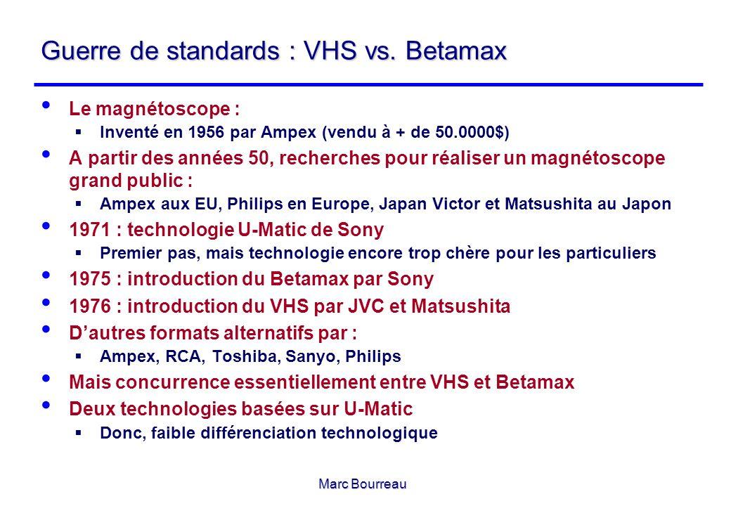 Marc Bourreau Guerre de standards : VHS vs. Betamax Le magnétoscope : Inventé en 1956 par Ampex (vendu à + de 50.0000$) A partir des années 50, recher