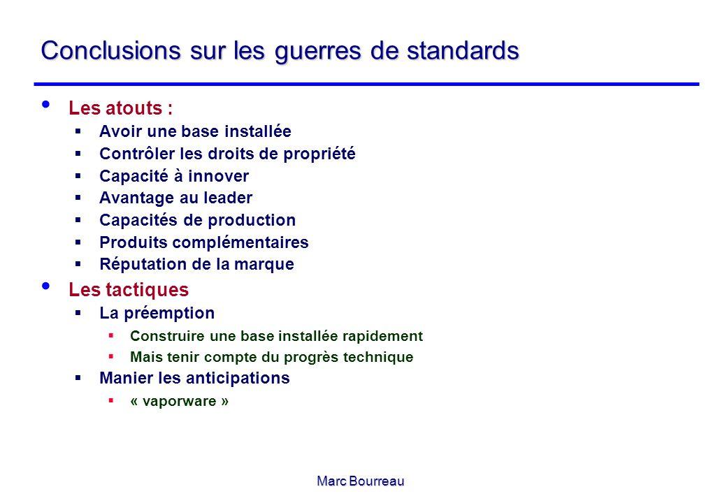 Marc Bourreau Conclusions sur les guerres de standards Les atouts : Avoir une base installée Contrôler les droits de propriété Capacité à innover Avan