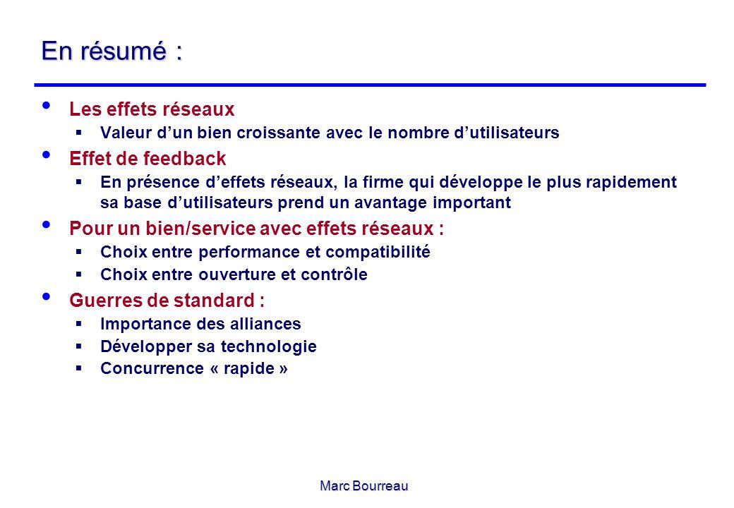Marc Bourreau En résumé : Les effets réseaux Valeur dun bien croissante avec le nombre dutilisateurs Effet de feedback En présence deffets réseaux, la