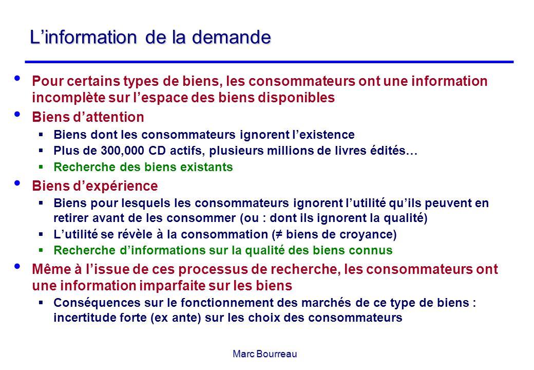 Marc Bourreau Linformation de la demande Pour certains types de biens, les consommateurs ont une information incomplète sur lespace des biens disponib