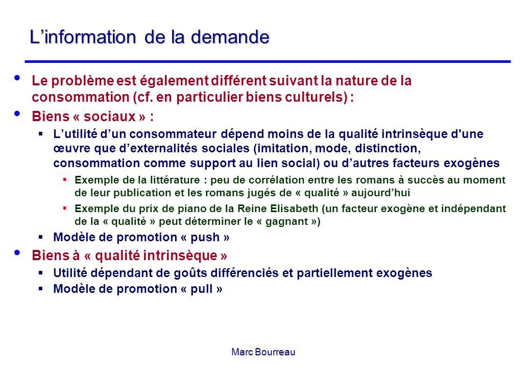 Marc Bourreau Linformation de la demande Le problème est également différent suivant la nature de la consommation (cf. en particulier biens culturels)