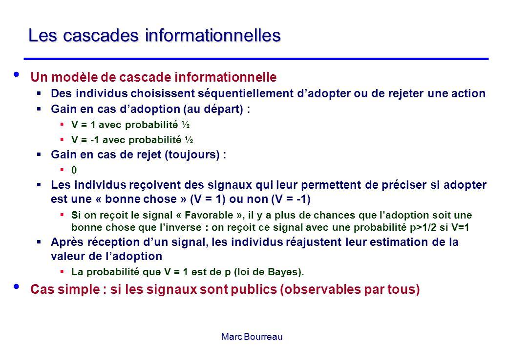 Marc Bourreau Les cascades informationnelles Un modèle de cascade informationnelle Des individus choisissent séquentiellement dadopter ou de rejeter u