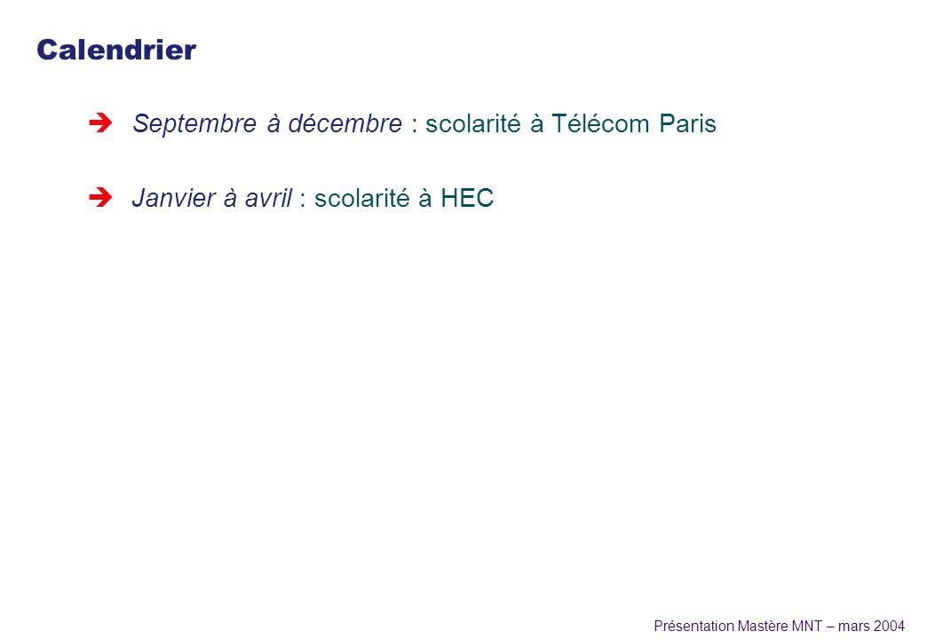 Présentation Mastère MNT – mars 2004 Calendrier èSeptembre à décembre : scolarité à Télécom Paris èJanvier à avril : scolarité à HEC