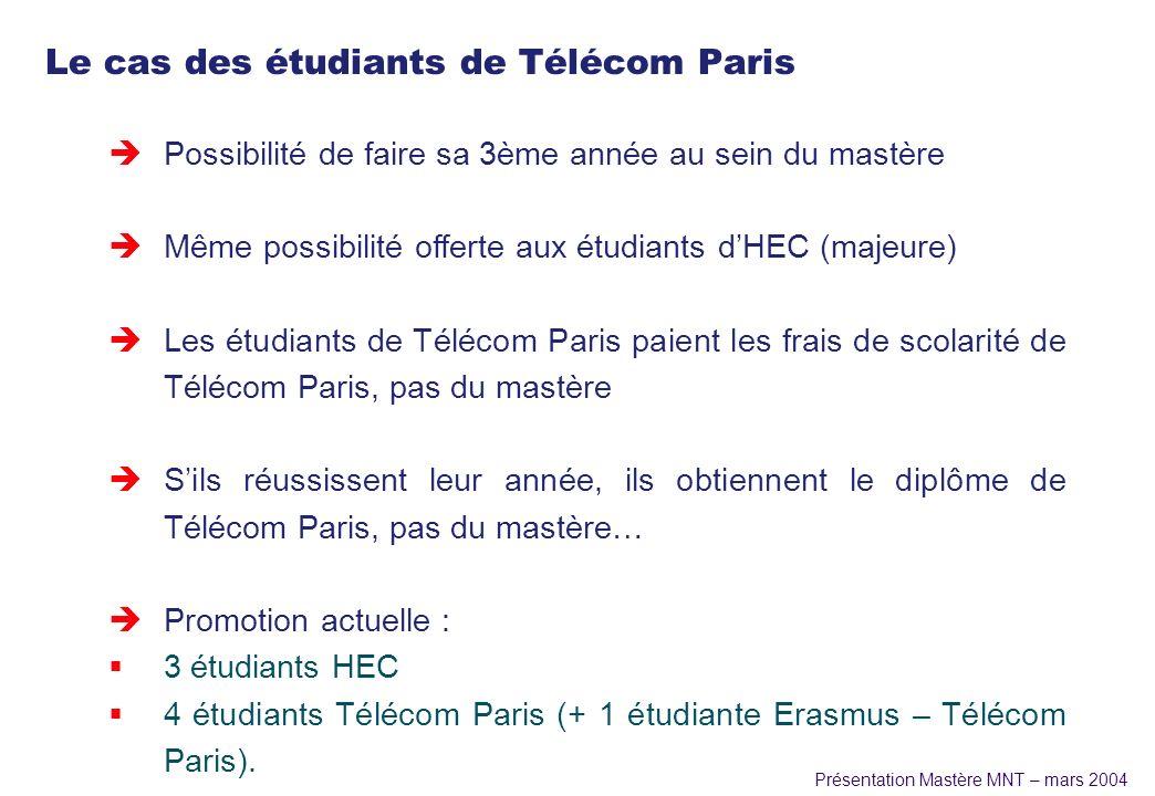 Présentation Mastère MNT – mars 2004 Le cas des étudiants de Télécom Paris èPossibilité de faire sa 3ème année au sein du mastère èMême possibilité of