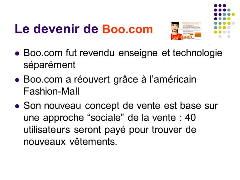 Le devenir de Boo.com Boo.com fut revendu enseigne et technologie séparément Boo.com a réouvert grâce à laméricain Fashion-Mall Son nouveau concept de