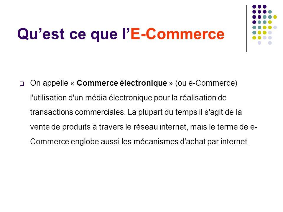 Quest ce que lE-Commerce On appelle « Commerce électronique » (ou e-Commerce) l'utilisation d'un média électronique pour la réalisation de transaction
