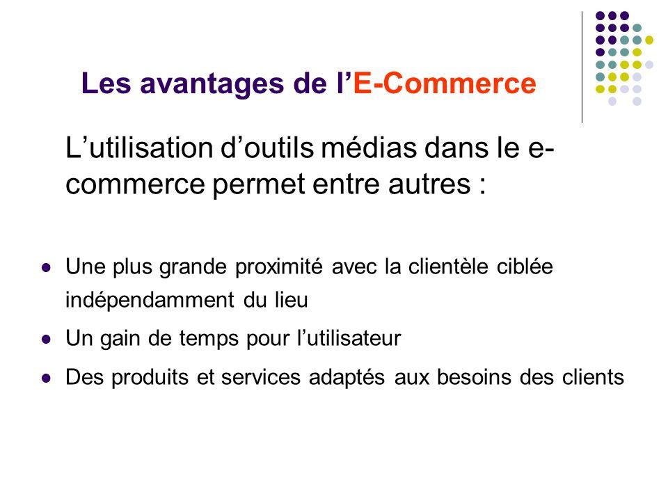 Les avantages de lE-Commerce Lutilisation doutils médias dans le e- commerce permet entre autres : Une plus grande proximité avec la clientèle ciblée