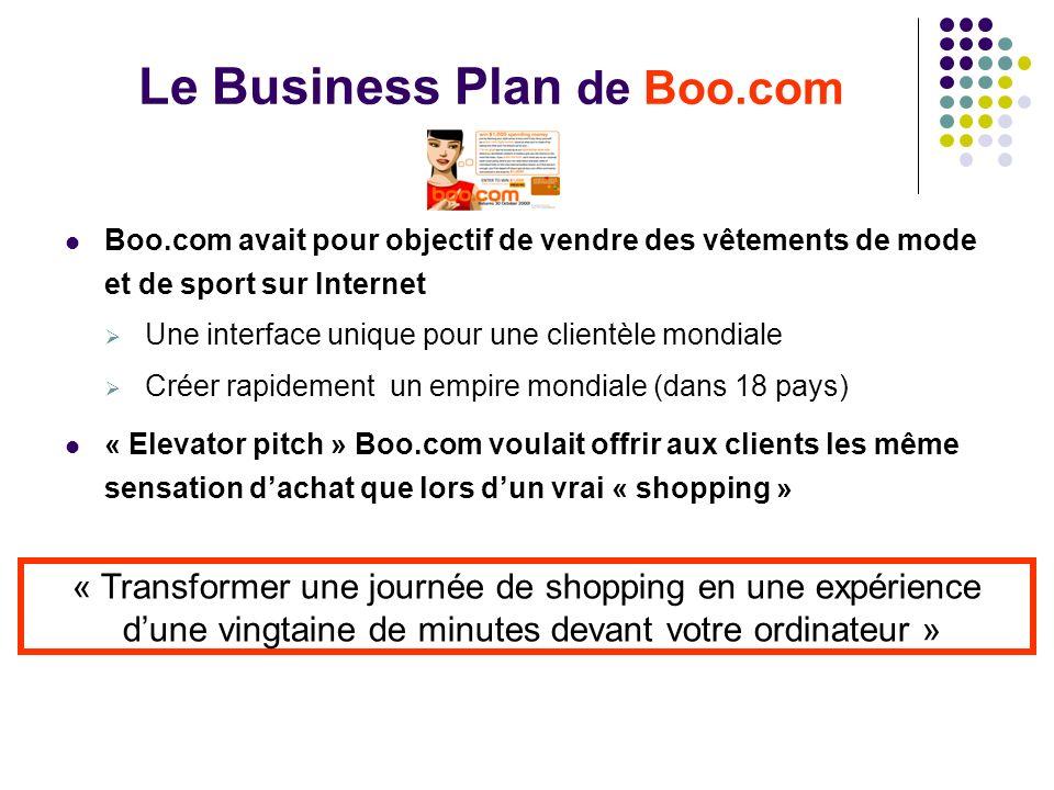 Le Business Plan de Boo.com Boo.com avait pour objectif de vendre des vêtements de mode et de sport sur Internet Une interface unique pour une clientè