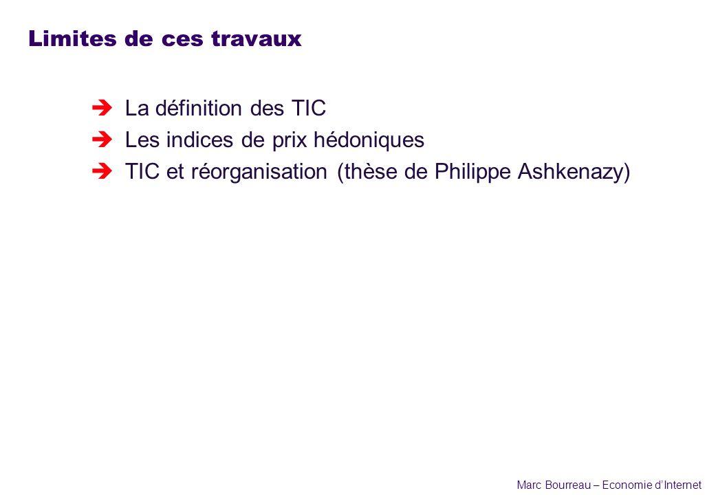 Marc Bourreau – Economie dInternet Limites de ces travaux èLa définition des TIC èLes indices de prix hédoniques èTIC et réorganisation (thèse de Phil