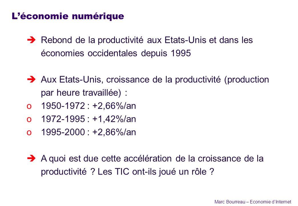 Marc Bourreau – Economie dInternet Léconomie numérique èRebond de la productivité aux Etats-Unis et dans les économies occidentales depuis 1995 èAux E