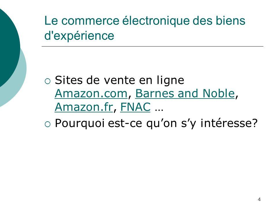 4 Le commerce électronique des biens d'expérience Sites de vente en ligne Amazon.com, Barnes and Noble, Amazon.fr, FNAC … Amazon.comBarnes and Noble A