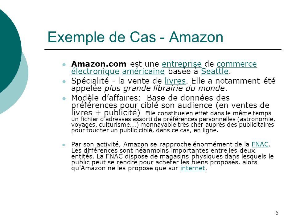 6 Exemple de Cas - Amazon Amazon.com est une entreprise de commerce électronique américaine basée à Seattle.entreprisecommerce électroniqueaméricaineS