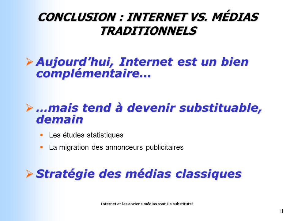 Internet et les anciens médias sont-ils substituts? 11 CONCLUSION : INTERNET VS. MÉDIAS TRADITIONNELS Aujourdhui, Internet est un bien complémentaire…