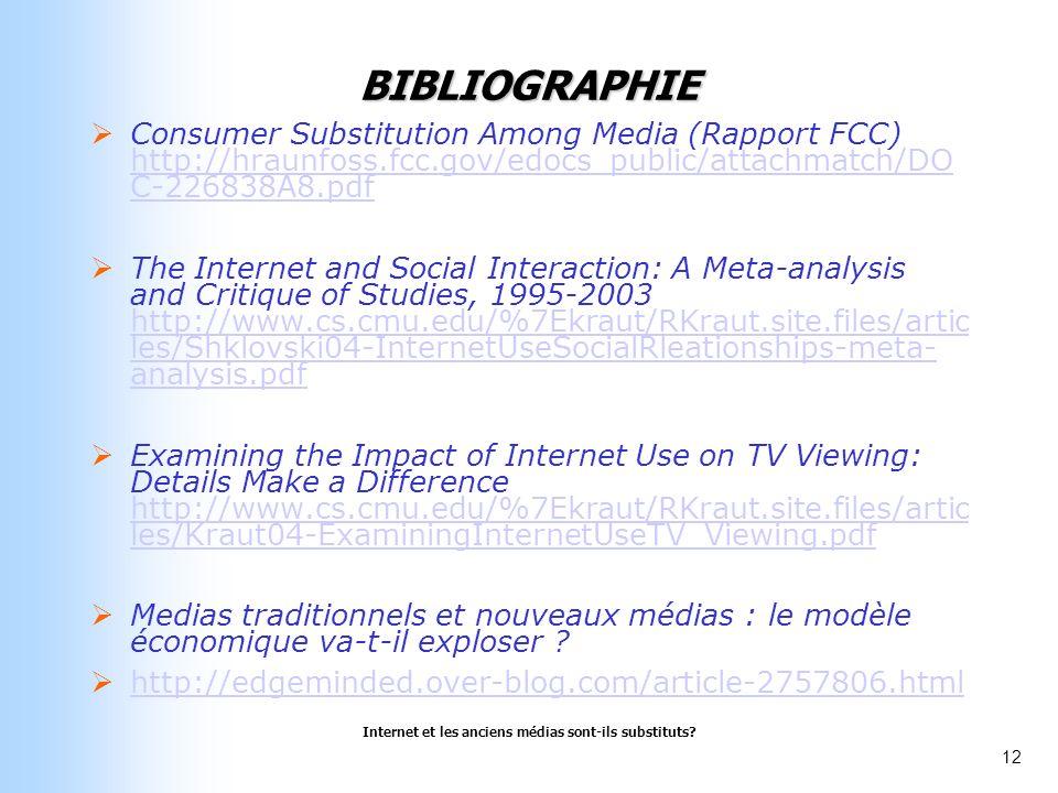 Internet et les anciens médias sont-ils substituts? 12 BIBLIOGRAPHIE Consumer Substitution Among Media (Rapport FCC) http://hraunfoss.fcc.gov/edocs_pu