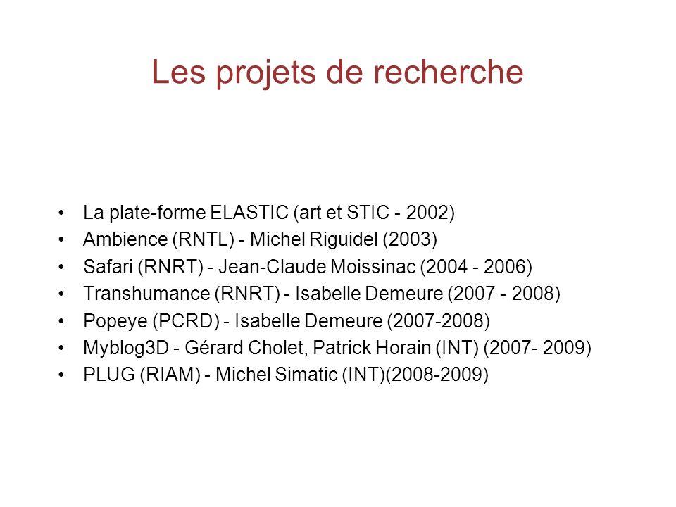 Les projets de recherche La plate-forme ELASTIC (art et STIC - 2002) Ambience (RNTL) - Michel Riguidel (2003) Safari (RNRT) - Jean-Claude Moissinac (2004 - 2006) Transhumance (RNRT) - Isabelle Demeure (2007 - 2008) Popeye (PCRD) - Isabelle Demeure (2007-2008) Myblog3D - Gérard Cholet, Patrick Horain (INT) (2007- 2009) PLUG (RIAM) - Michel Simatic (INT)(2008-2009)