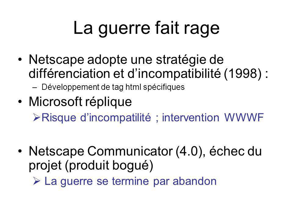La guerre fait rage Netscape adopte une stratégie de différenciation et dincompatibilité (1998) : –Développement de tag html spécifiques Microsoft réplique Risque dincompatilité ; intervention WWWF Netscape Communicator (4.0), échec du projet (produit bogué) La guerre se termine par abandon