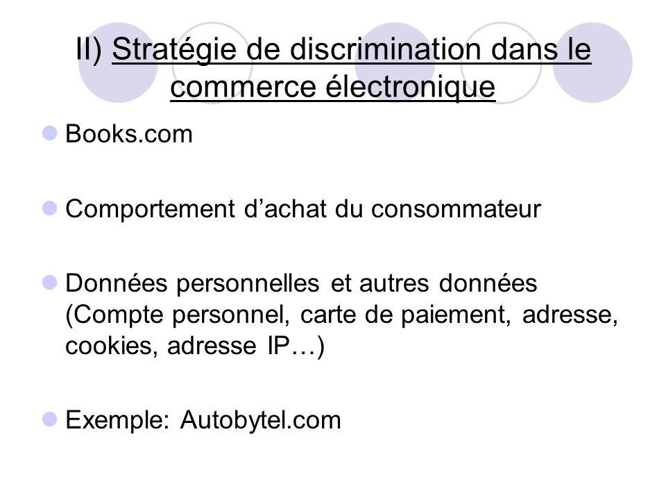 II) Stratégie de discrimination dans le commerce électronique Books.com Comportement dachat du consommateur Données personnelles et autres données (Co