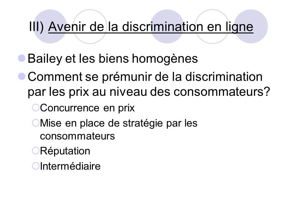 III) Avenir de la discrimination en ligne Bailey et les biens homogènes Comment se prémunir de la discrimination par les prix au niveau des consommate