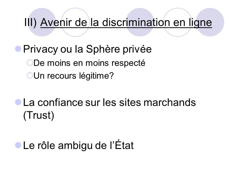 III) Avenir de la discrimination en ligne Privacy ou la Sphère privée De moins en moins respecté Un recours légitime? La confiance sur les sites march