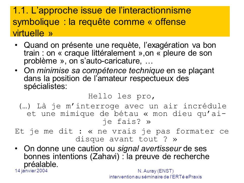 14 janvier 2004 N. Auray (ENST) intervention au séminaire de lERTé ePraxis 1.1.