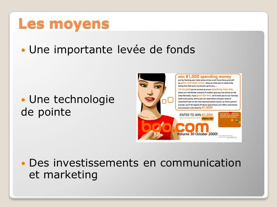 Les moyens Une importante levée de fonds Une technologie de pointe Des investissements en communication et marketing