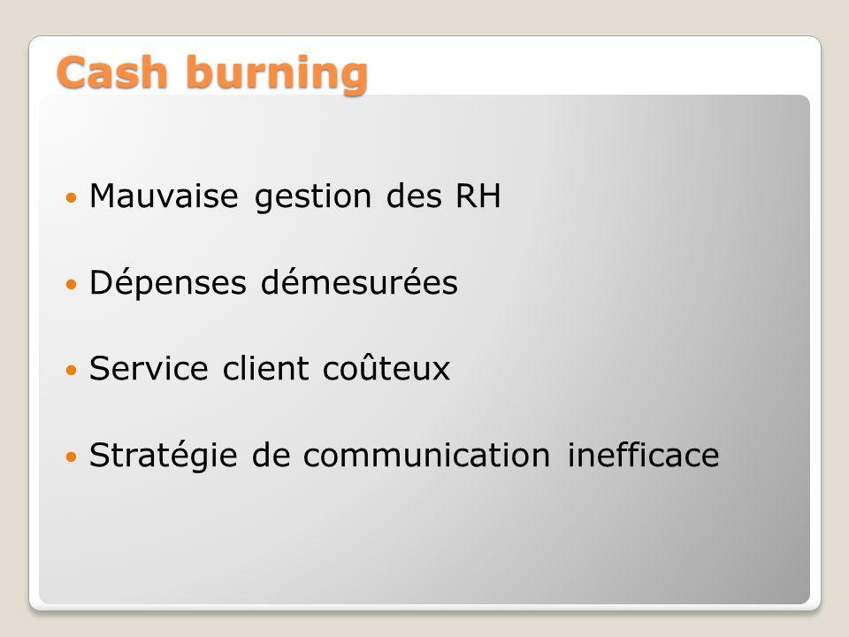 Cash burning Mauvaise gestion des RH Dépenses démesurées Service client coûteux Stratégie de communication inefficace