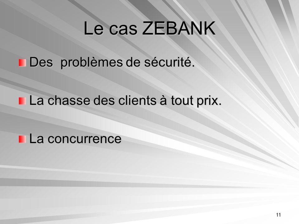 11 Le cas ZEBANK Des problèmes de sécurité. La chasse des clients à tout prix. La concurrence
