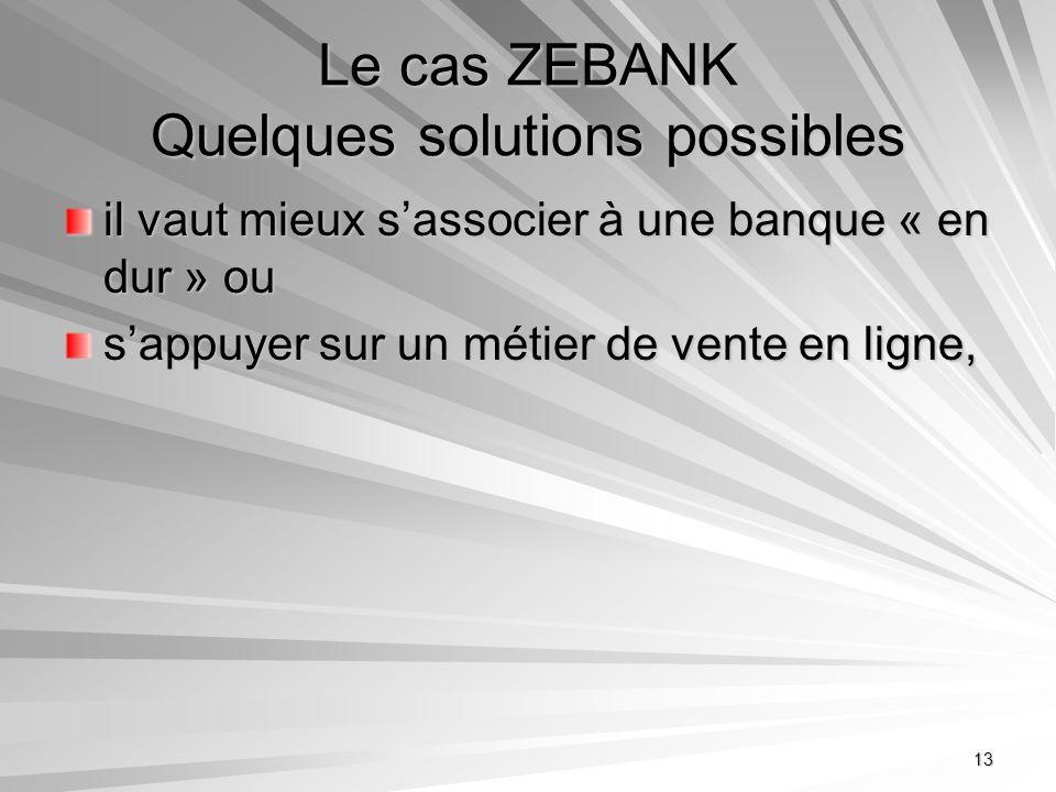 13 Le cas ZEBANK Quelques solutions possibles il vaut mieux sassocier à une banque « en dur » ou sappuyer sur un métier de vente en ligne,