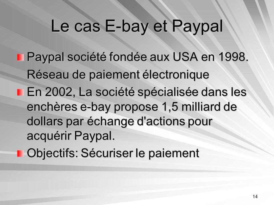 14 Le cas E-bay et Paypal Paypal société fondée aux USA en 1998. Réseau de paiement électronique En 2002, La société spécialisée dans les enchères e-b