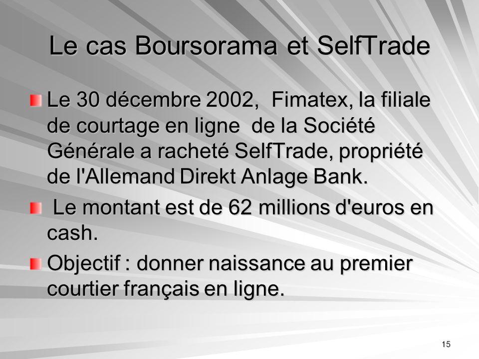 15 Le cas Boursorama et SelfTrade Le 30 décembre 2002, Fimatex, la filiale de courtage en ligne de la Société Générale a racheté SelfTrade, propriété