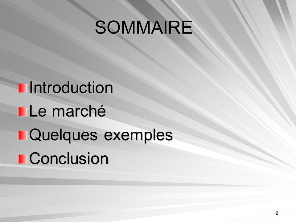 2 SOMMAIRE Introduction Le marché Quelques exemples Conclusion