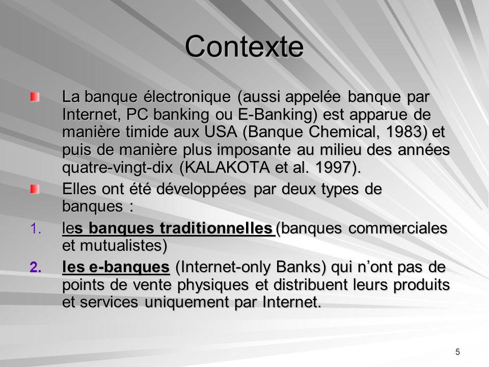 5 Contexte La banque électronique (aussi appelée banque par Internet, PC banking ou E-Banking) est apparue de manière timide aux USA (Banque Chemical,