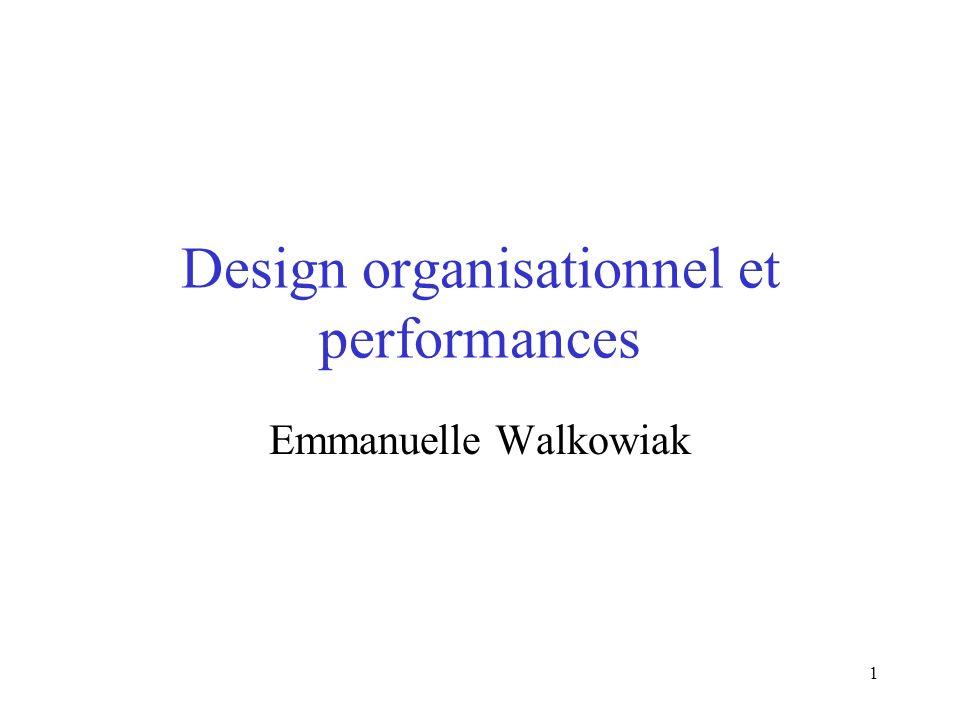 1 Design organisationnel et performances Emmanuelle Walkowiak