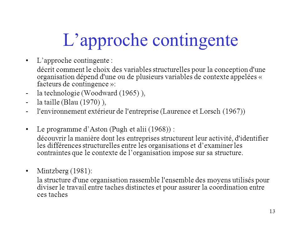 13 Lapproche contingente Lapproche contingente : décrit comment le choix des variables structurelles pour la conception d'une organisation dépend d'un