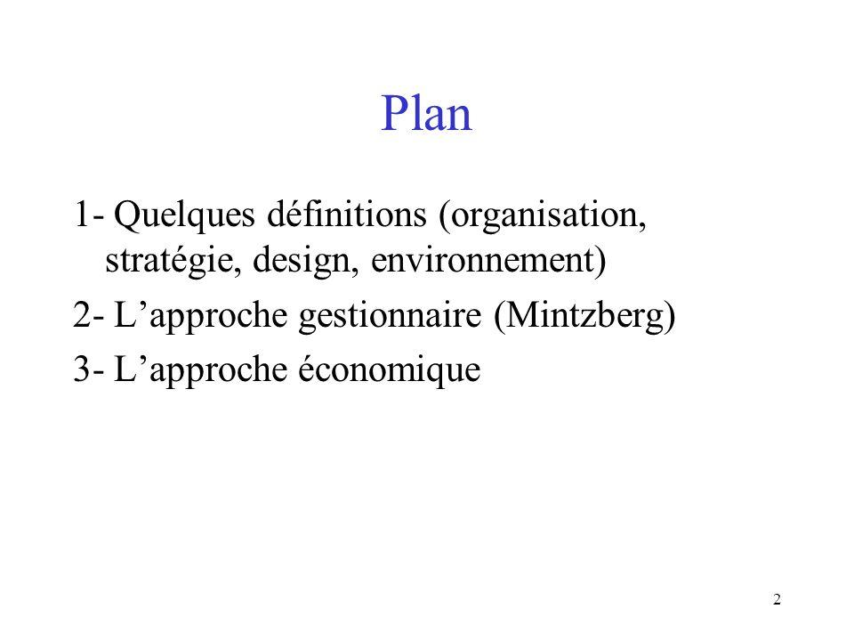 2 Plan 1- Quelques définitions (organisation, stratégie, design, environnement) 2- Lapproche gestionnaire (Mintzberg) 3- Lapproche économique