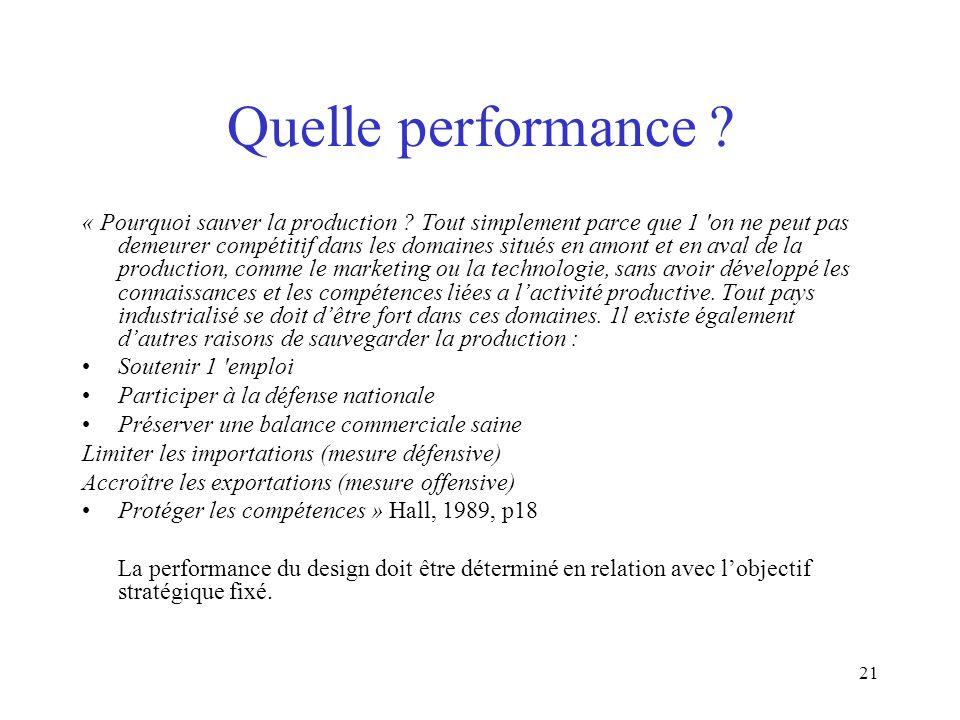21 Quelle performance ? « Pourquoi sauver la production ? Tout simplement parce que 1 'on ne peut pas demeurer compétitif dans les domaines situés en
