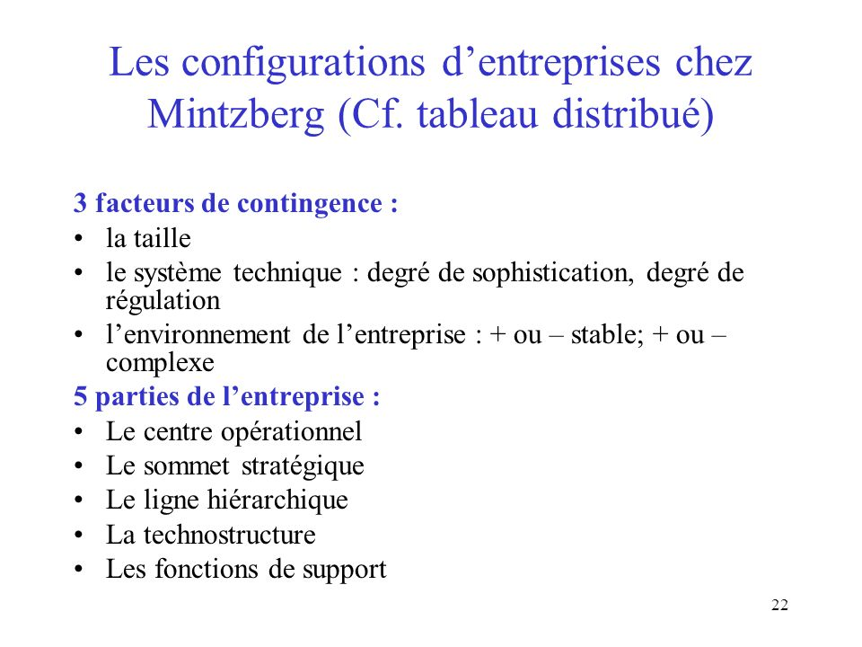 22 Les configurations dentreprises chez Mintzberg (Cf. tableau distribué) 3 facteurs de contingence : la taille le système technique : degré de sophis
