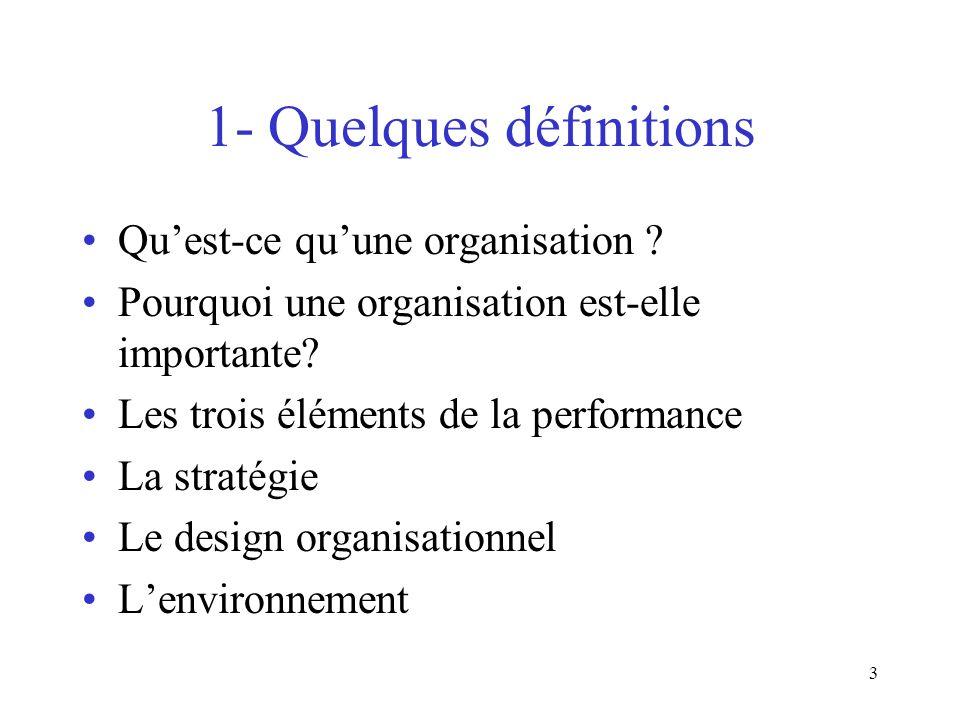 3 1- Quelques définitions Quest-ce quune organisation ? Pourquoi une organisation est-elle importante? Les trois éléments de la performance La stratég