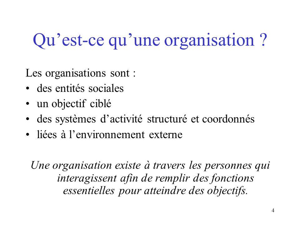 4 Quest-ce quune organisation ? Les organisations sont : des entités sociales un objectif ciblé des systèmes dactivité structuré et coordonnés liées à