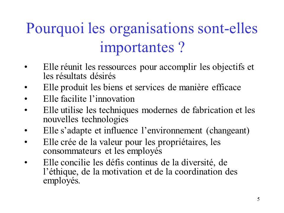 5 Pourquoi les organisations sont-elles importantes ? Elle réunit les ressources pour accomplir les objectifs et les résultats désirés Elle produit le